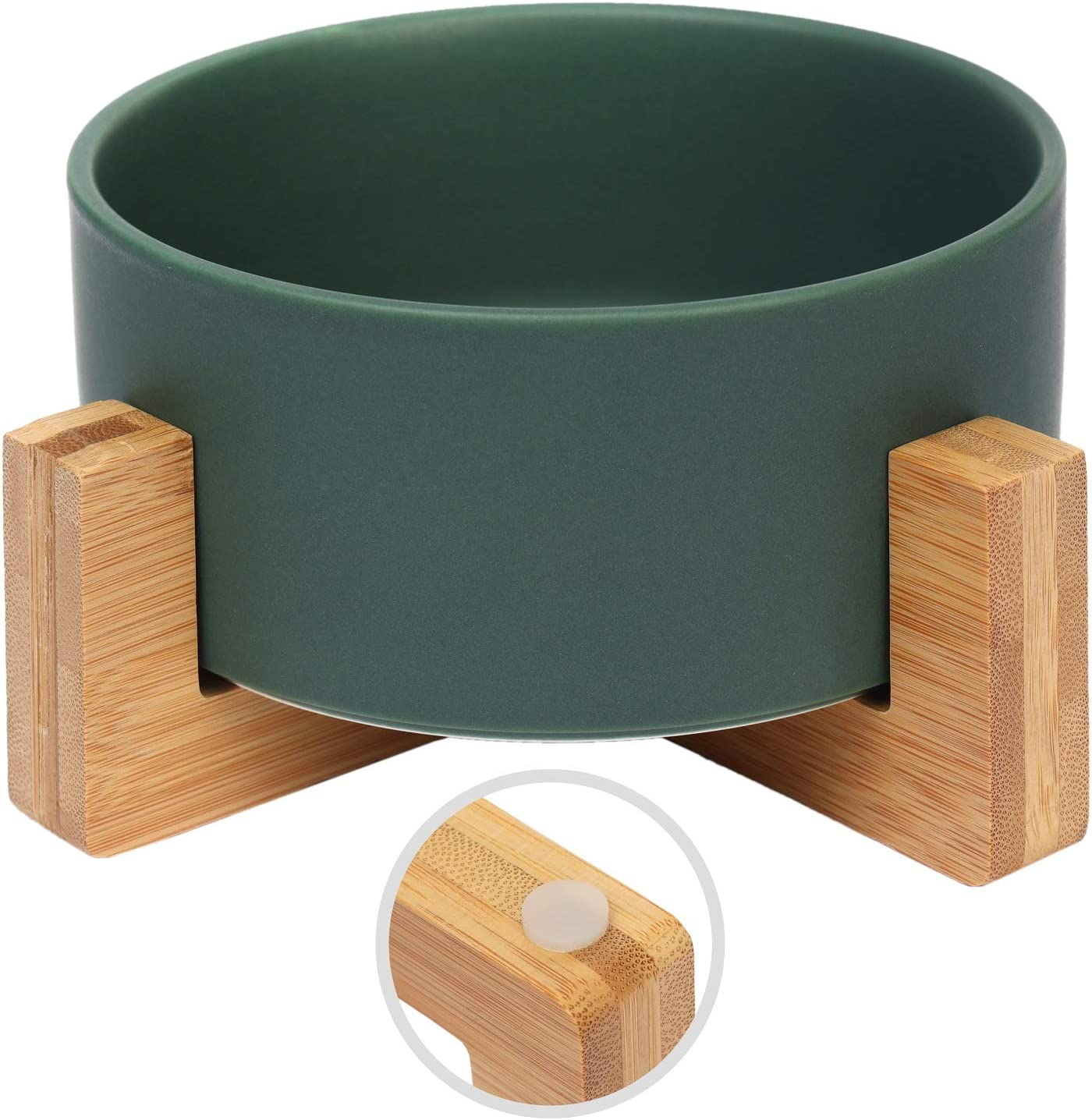 Olsa Ceramic Cat Dog Bowlwith Anti-Slip Bamboo Stand, Round Dog Food Bowl, Elevated Cat Dog Bowls, Large Capacity Pet Bowl, Dog Food and Water Bowlfor Dogs Cats, Easy to Clean, Holds 30 Ounces