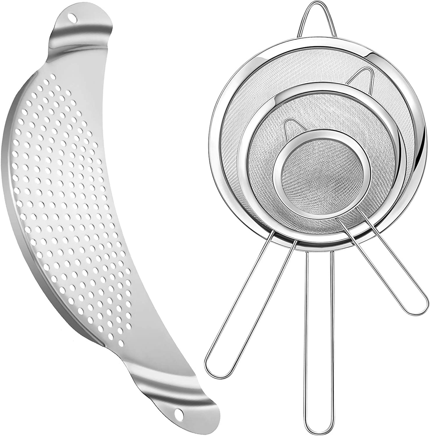 4 Pieces Pot Mesh Strainer Set Includes 3 Pieces Stainless Steel Fine Mesh Strainers Wire Strainers and 1 Piece Pan Pot Strainer Colander Sifter for Vegetables Fruit Pasta Drain and Rinse