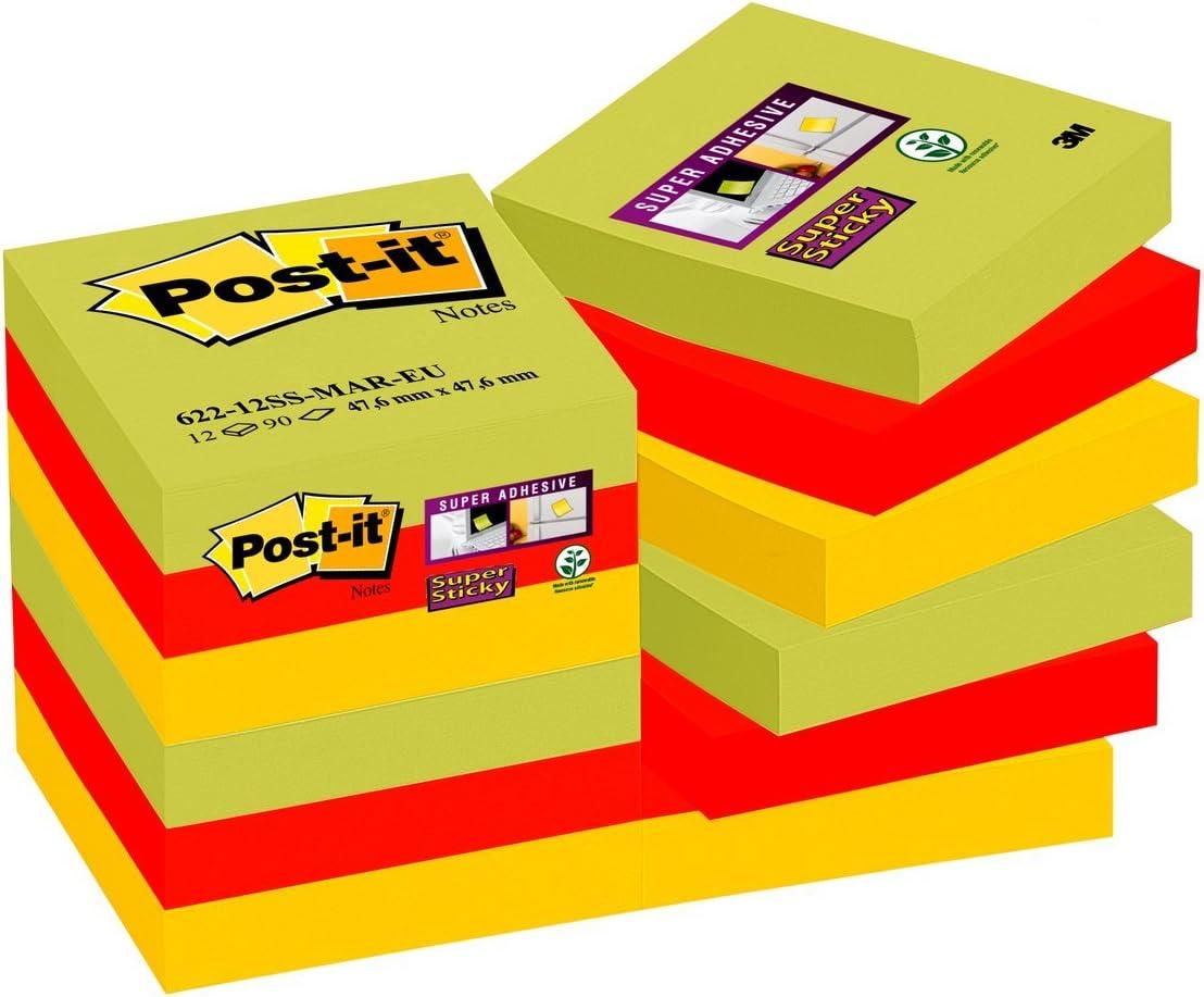Post-it 28145 Foglietti Super Sticky 90 Fogli 76 x 127 mm Confezione da 6 Blocchetti Colori Marrakesh