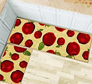 Wolala Home Durable Machine Washable Kitchen Rugs and Mats 2pcs Sets Red Apple Design Non-Slip Absorbent Kitchen Rug Runner(1'3x2'0+1'3x4'0, Red)