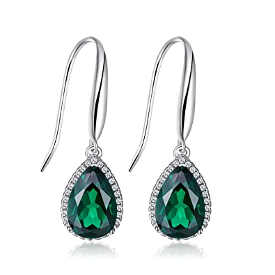 8326afa13229f JewelryPalace Pear 5.4ct Simulated Green Nano Emerald Dangle Earrings Solid  925 Sterling Silver