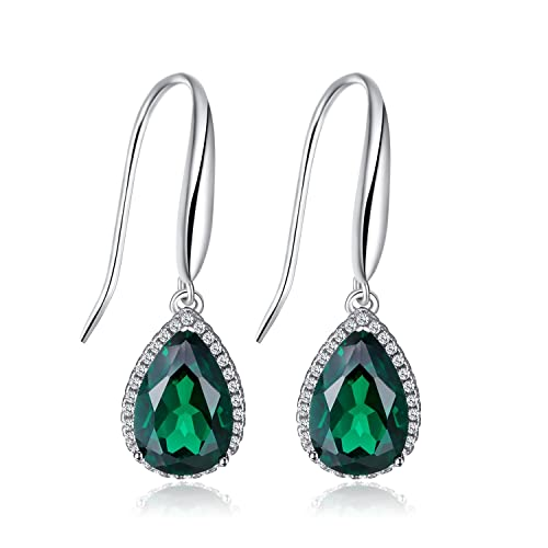 JewelryPalace Pear Gemstones Birthstone 5.4ct Green Nano Russian Simulated Emerald Dangle Earrings For Women Solid 925 Sterling Silver