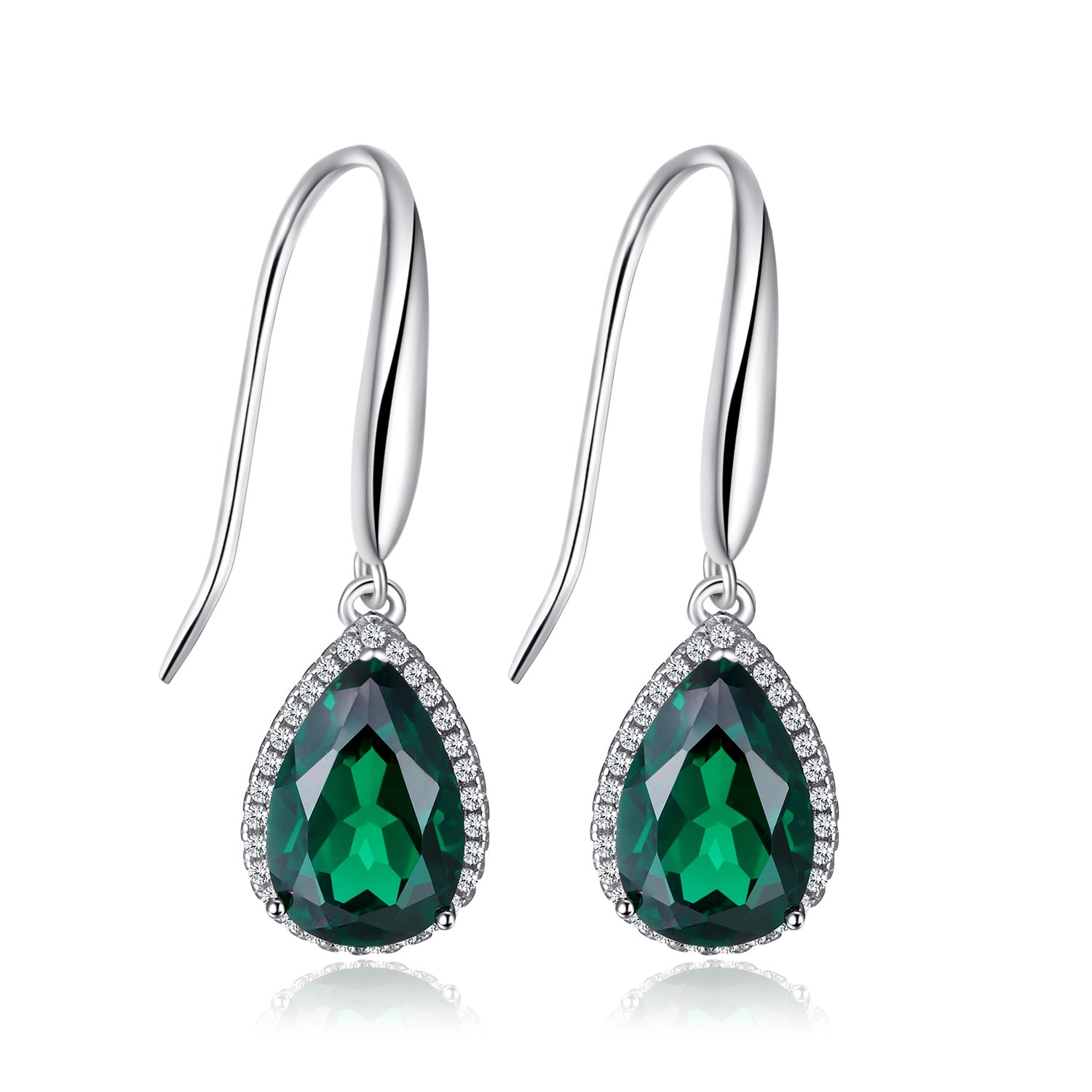 JewelryPalace Pear 5.4ct Simulated Green Nano Russian Emerald Dangle Earrings Solid 925 Sterling Silver