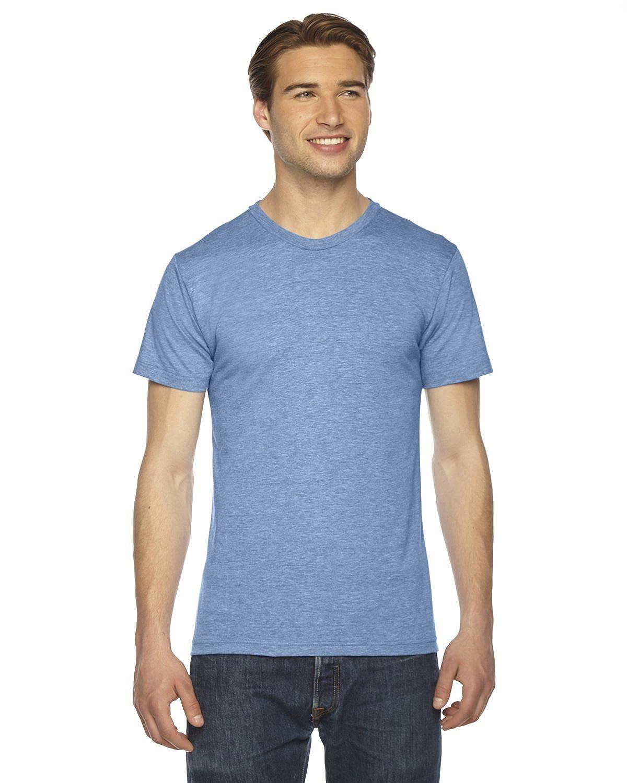 American Apparel Unisex Tri-Blend Short Sleeve Track Shirt-Athletic Blue
