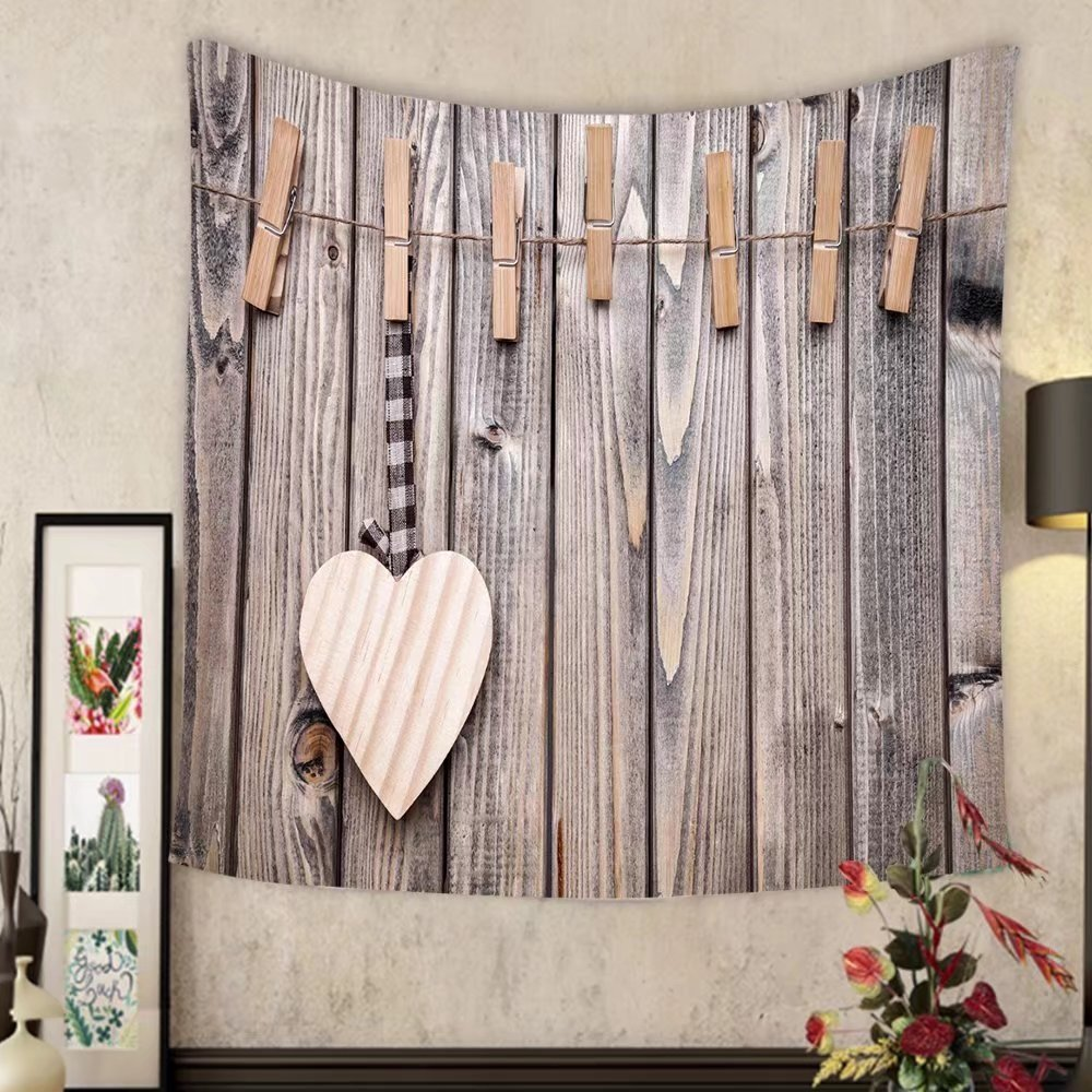 Madeleine Ellis Custom tapestry love concept heart on a string shot on wooden background by Madeleine Ellis (Image #1)