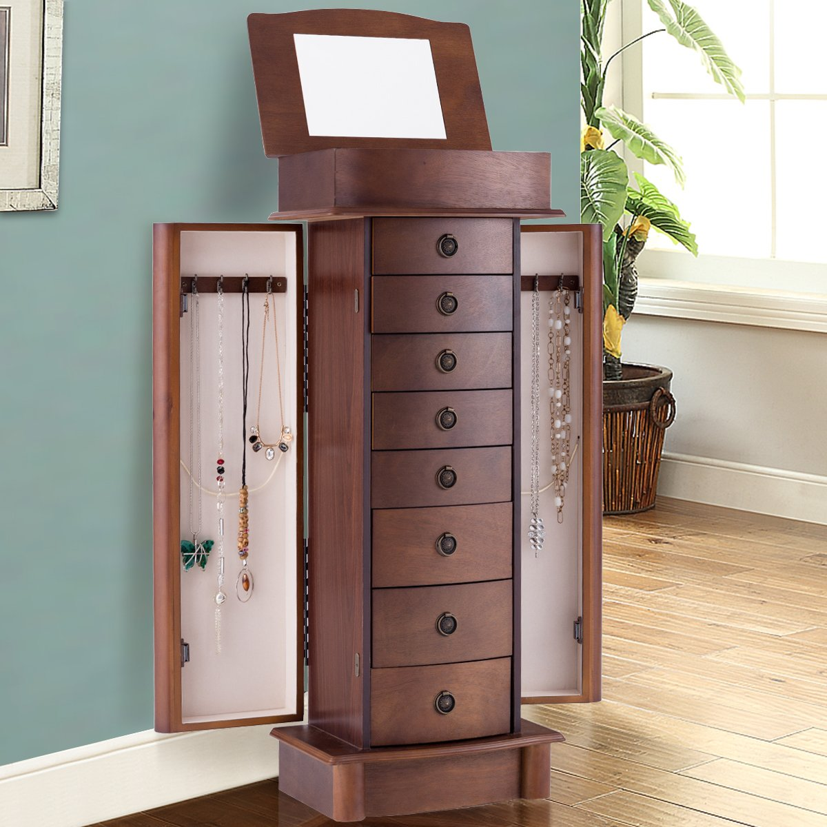 Giantex Armoire Jewelry Cabinet Box Storage Chest Wood Walnut Finish Stand Organizer Wood with Side Doors and 8 Drawers