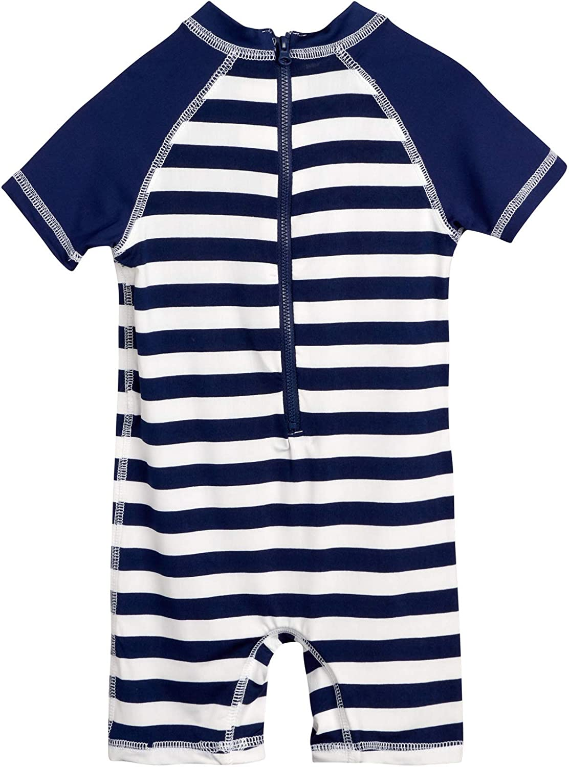 Newborn and Infant Sun Protection Swimsuit Wippette Baby Boys One-Piece UPF 50+ Rash Guard Sunsuits Navy//Stripe Crab Size 9 Months
