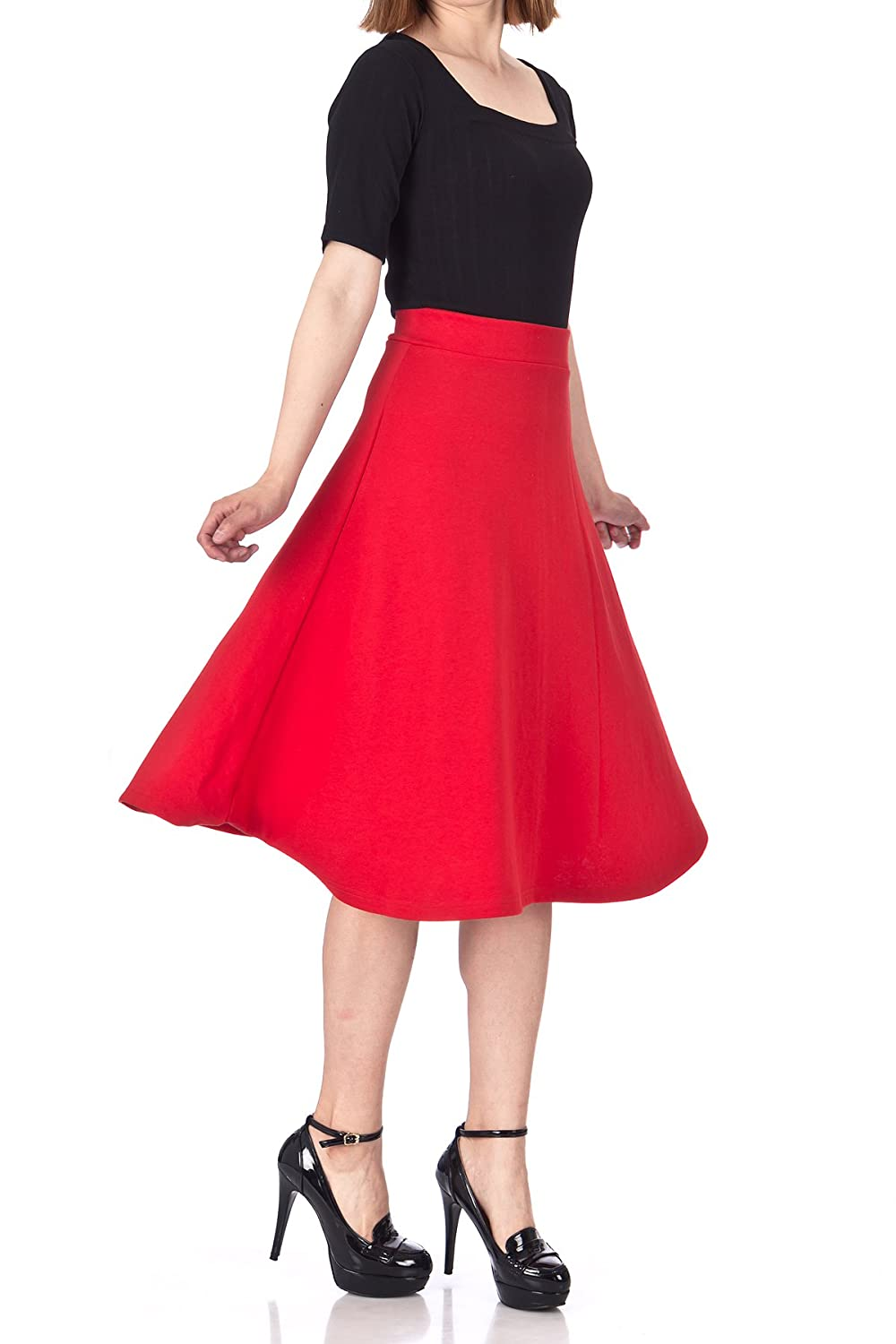 Dani's Choice Everyday High Waist A-Line Flared Skater Midi Skirt SN16-02-001
