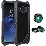 "Samsung Galaxy S8 Plus Lens Kit Case, SHEROX - 3 in 1 198° Fisheye Lens + 15X Macro Lens + Wide Angle Lens with IP54 Dustproof Shockproof Aluminum Case for Galaxy S8 Plus+ (6.2"" Screen), Black"