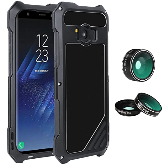 Samsung Galaxy S8 Plus Lens Kit Case, SHEROX - 3 in 1 198° Fisheye Lens +  15X Macro Lens + Wide Angle Lens with IP54 Dustproof Shockproof Aluminum