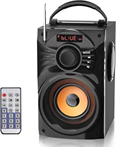Portable Bluetooth Speaker Subwoofer Heavy Bass LCD Display Wireless Desktop Speaker Support Remote Control FM Radio AUX Input MP3 Player for Indoor/Outdoor Home Party Computer