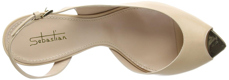 Sebastian Nude Leather D`Orsay Open Toe Pump Size 39