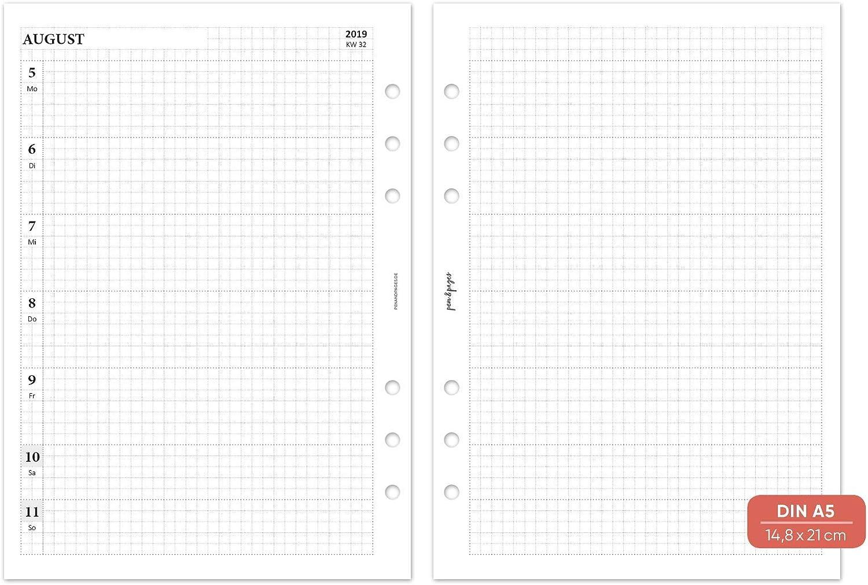 1 Woche auf 2 Seiten Personal A6 Organizer Notizen Aufgaben Personal 6 L/öcher 9,5 x 17,1 cm pen /& pages/® 2020//2021 akademischer Kalender Spalten liniert August bis Juli