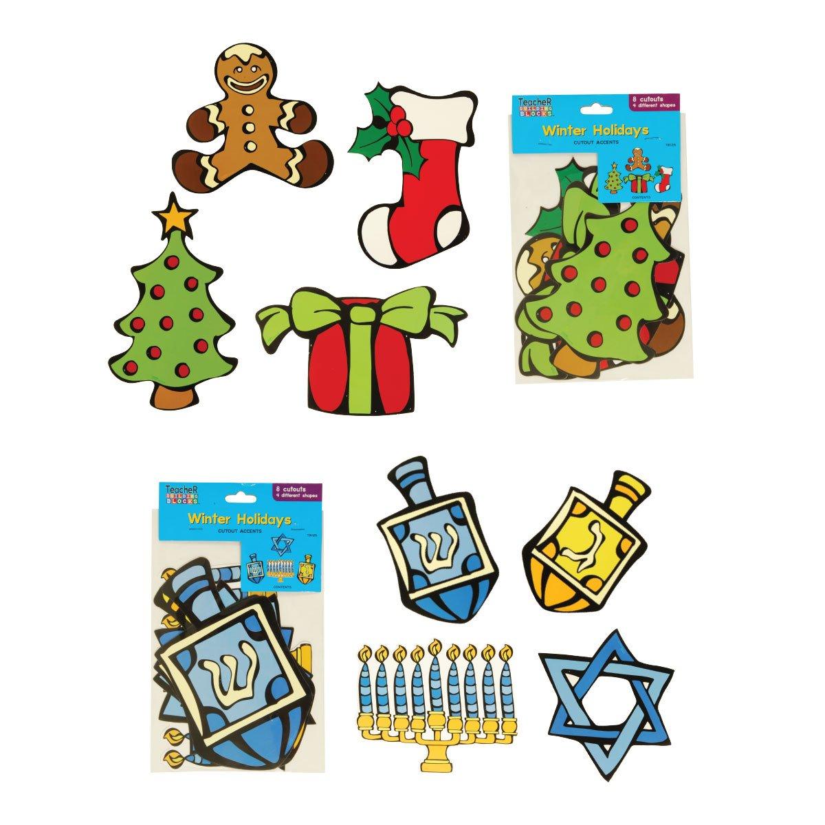Winter Holiday Cutouts - 8 Pack (FLOMO) Classroom Holiday Decorations, Christmas Bulletin Board, Hanukkah Bulletin Board by Teacher Building Blocks