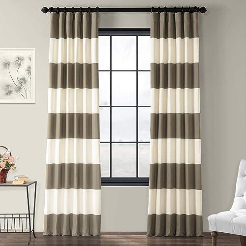 HPD Half Price Drapes PRCT-HS04-84 Horizontal Stripe Curtain 1 Panel