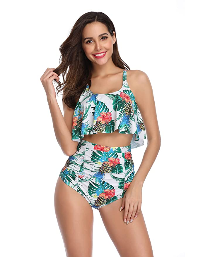 Amazon.com: LALAVAVA Falbala traje de baño de cintura alta ...