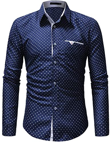 Rrive Men Shirts Casual Button Down Polka Dot Printing Long Sleeve Dress Work Shirt