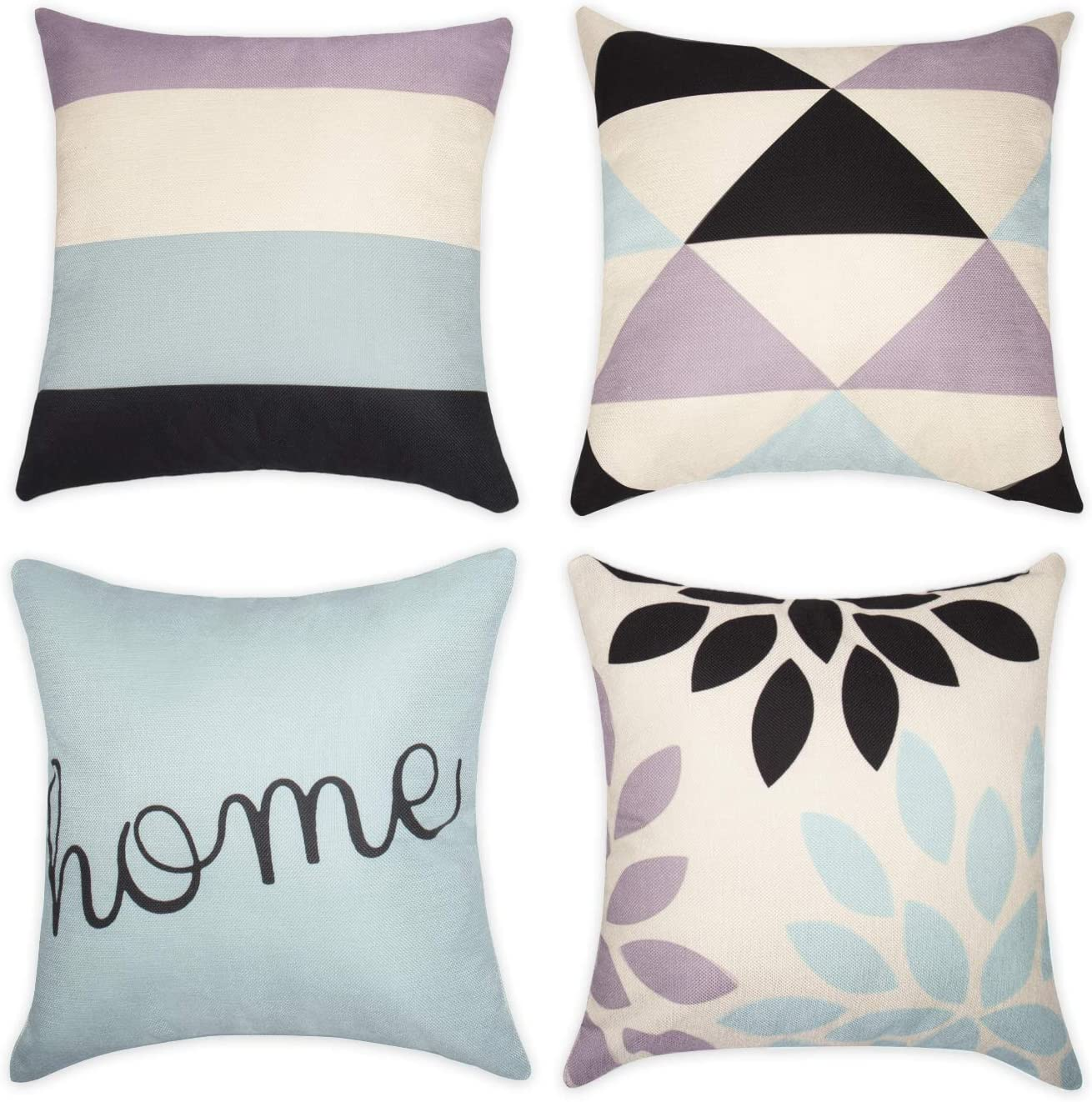 Set of 4 Cotton Decorative Cushion Covers for Sofa Bed Pillow Case Covers