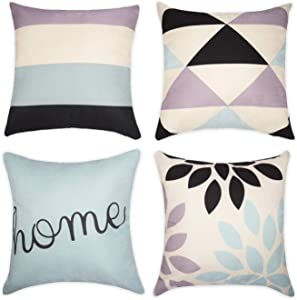 Wandering Nature Set of 4 Throw Pillow Covers for Sofa Couch Chair Bed Spaure Cushion Covers Modern Decorative 18''×18'' Pillowcases Cotton Linen