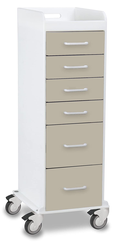 TrippNT 51096 Polyethylene Tall Locking Cart, 16 Width x 47 Height x 19 Depth, 6 Drawers, Almond