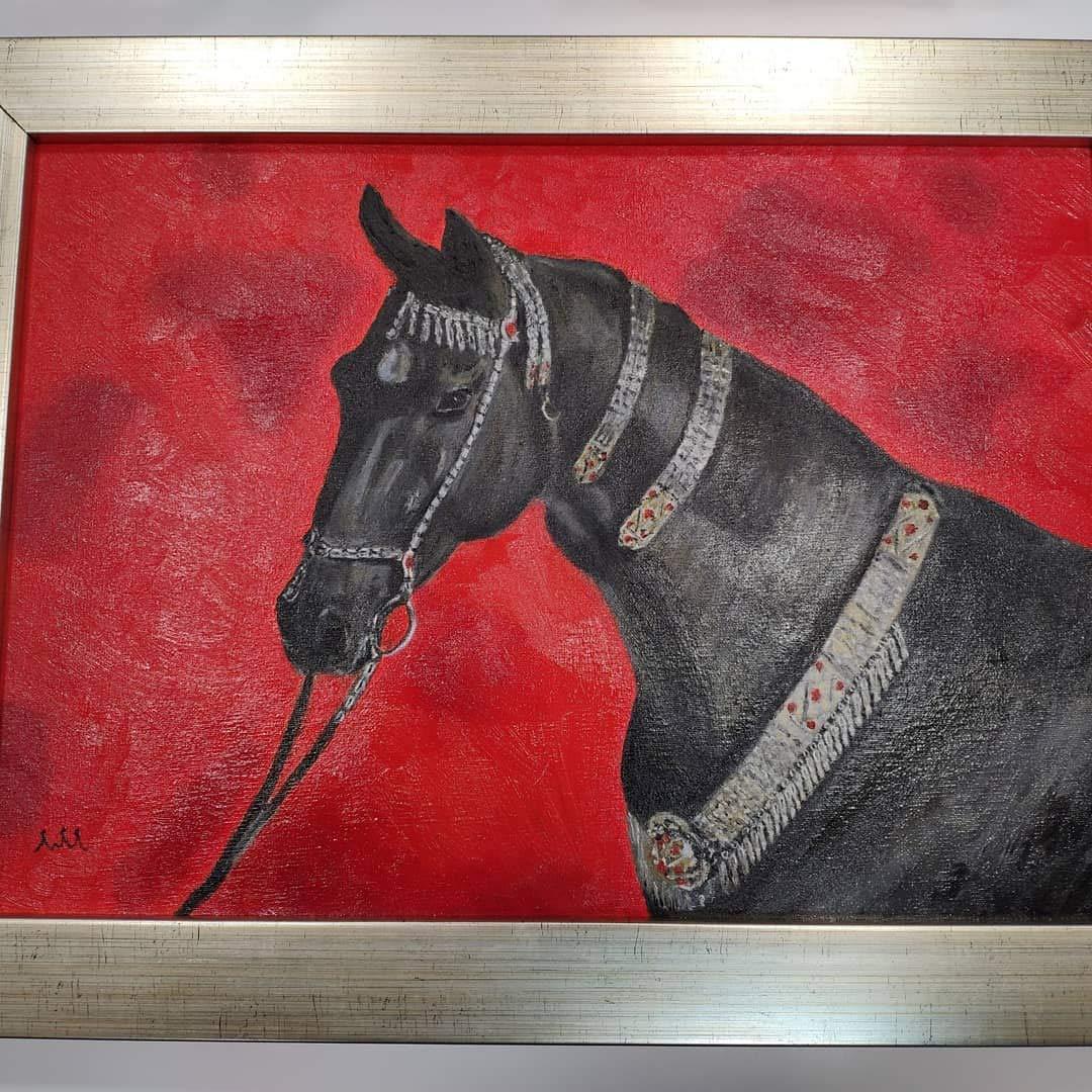 Cuadro al óleo hecho a mano caballo decoración
