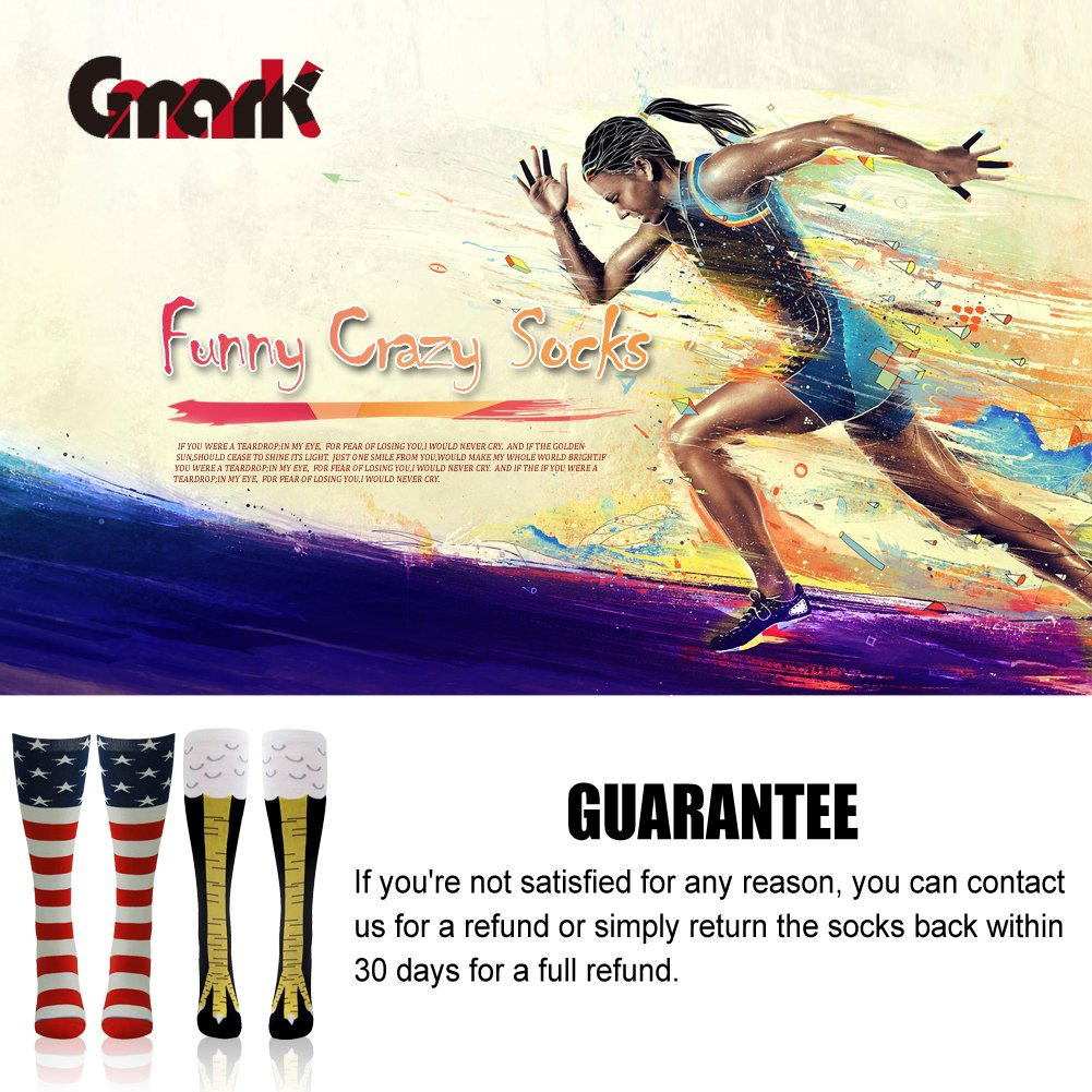 863feb1f521 American Flag Socks, Gmark Women's Crazy Funny Chicken Legs/Boots Knee  High&Shark Mid-calf Gift Sock