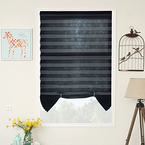 SUNFREE Temporary Blinds Blackout Shades Pleated Window Shades Cordless Blinds Room Darkening Fabric Shade Easy to Cut and Install,36″x72″-6 Pack