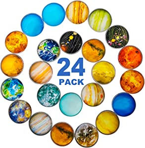 DIYSELF 24Pack Planetary Glass Fridge Magnets Refrigerator Magnets Office Magnets Small Magnets Colorful Decoration Magnets for Whiteboard