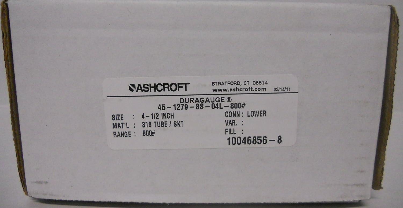 "Ashcroft 1279 Dura Pressure Gauge 4-1//2/"" Face 0-600 PSI 1//2/"" NPT SS Lower /<36193"