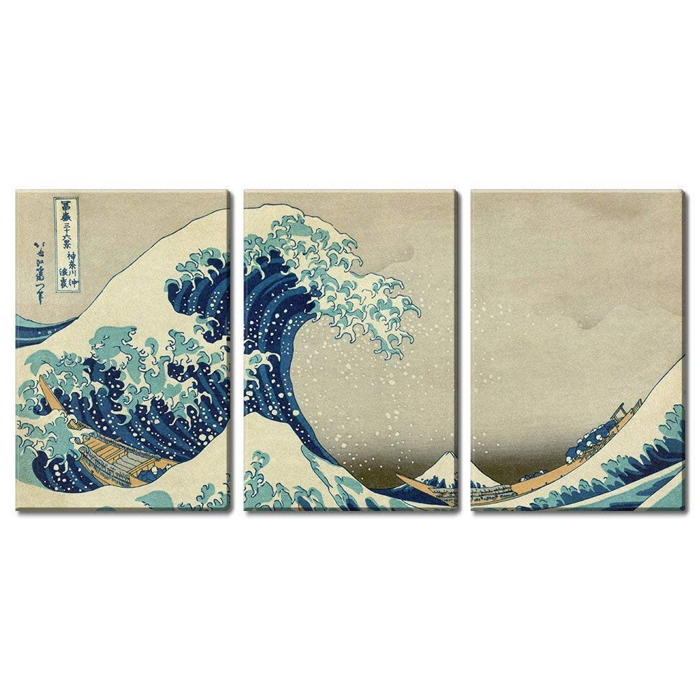 "wall26 3 Panel World Famous Painting Reproduction on Canvas Wall Art - The Great Wave Off Kanagawa by Hokusai - Modern Home Decor Ready to Hang - 16""x24"" x 3 Panels"