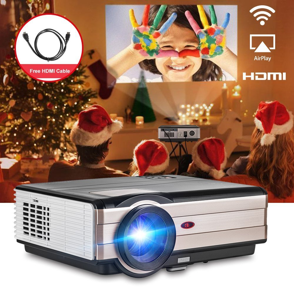 LCD LED Video Projector 1080p 3500 Lumen Home Cinema Theater Video Projector Support USB SD Card VGA AV for Moive TV Laptop Game iPhone Android Smartphone with HDMI Cable