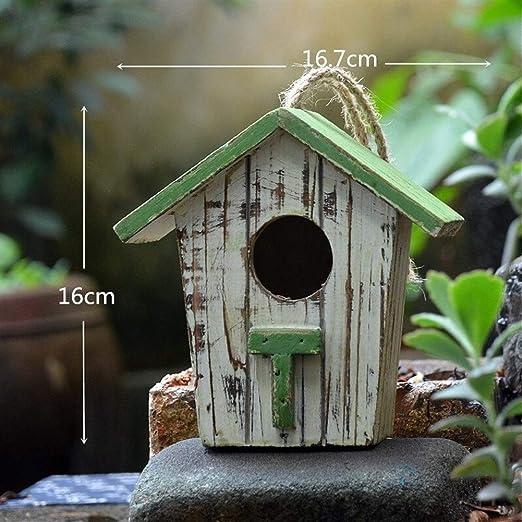 ZANGAO Jardín de decoración Casa del pájaro Pequeña casa Rural de Nido de pájaro de Madera Jaula de pájaros Montaje en Pared cría al Aire Libre casa (Color : 16.7x9.3x16cm): Amazon.es: Productos