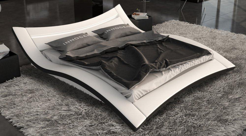 Sam Polster Bett Led 160x200 Cm Salina In Weiss Schwarz Aussergewohnliches Design Lichtleiste Am Kopfteil Amazon De Kuche Haushalt