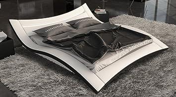 SAM Polster-Bett 140x220 cm Salina LED in weiß/schwarz ...