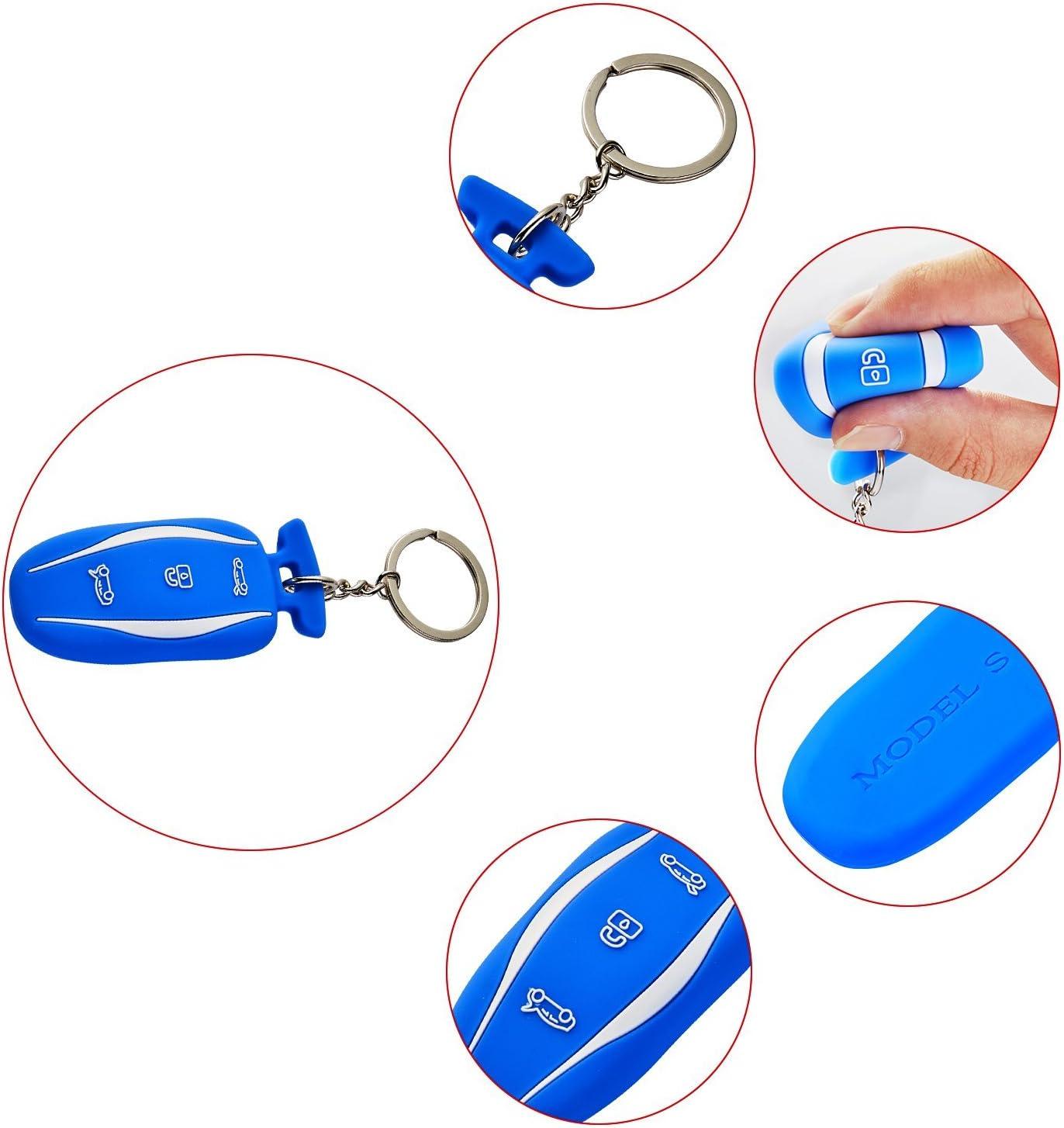 2 Pack lfotpp Silicone Car Key Cover LiFan Tesila model S Silicone Black+Blue Black + Blue for Tesla Model S Remote Key