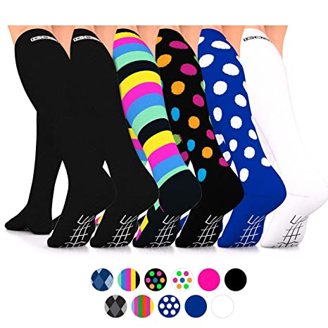 e27c0f96b4 Go2Socks Compression Socks for Men Women Nurses Runners 16-22 mmHg (Medium)  - Medical Stocking Maternity Travel - Best Performance Recovery Circulation  ...