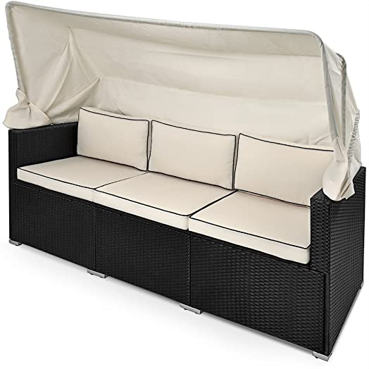 Rattan sofa outdoor  Poly Rattan Sofa Bench Day-Bed Black Outdoor Patio Wicker ...