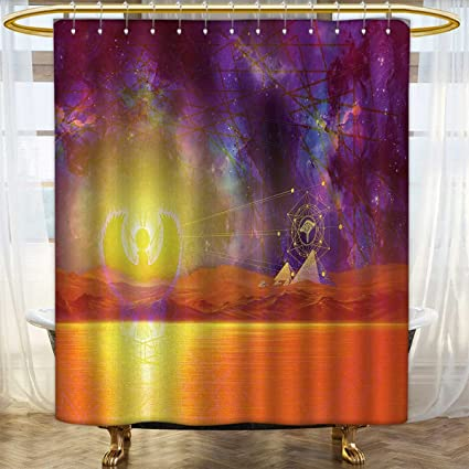 Anhounine Egypt Shower Curtains 3D Digital Printing Secret Proportion Of The Universe Sign With Triangles And