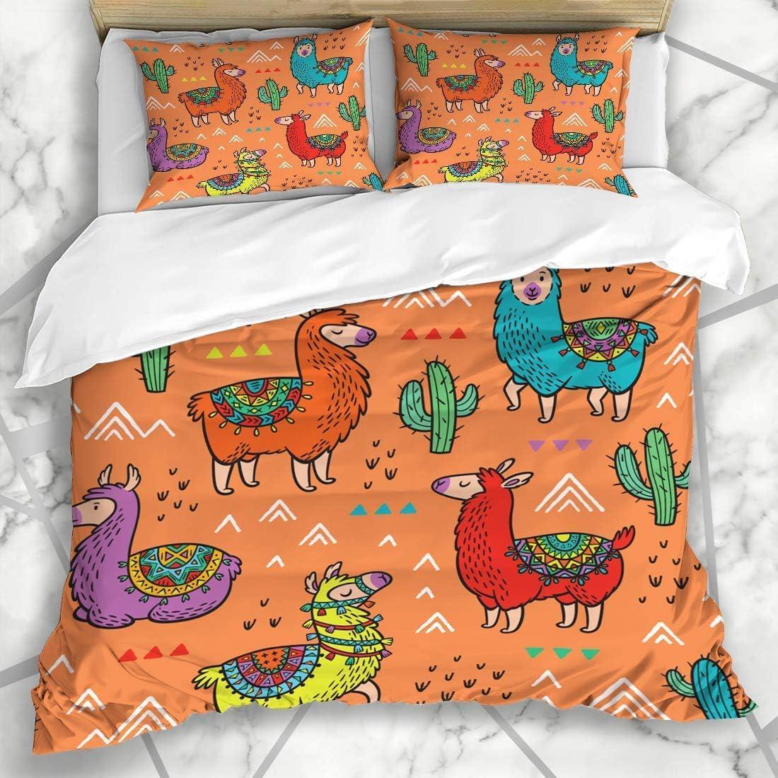 Juegos de fundas nórdicas North Alpaca Lamas Patrón de llama ideal Lindo diseño de dibujo de cactus de Perú Ropa de cama de microfibra artística con 2 fundas de almohada Fácil cuidado Anti-alérgico Su