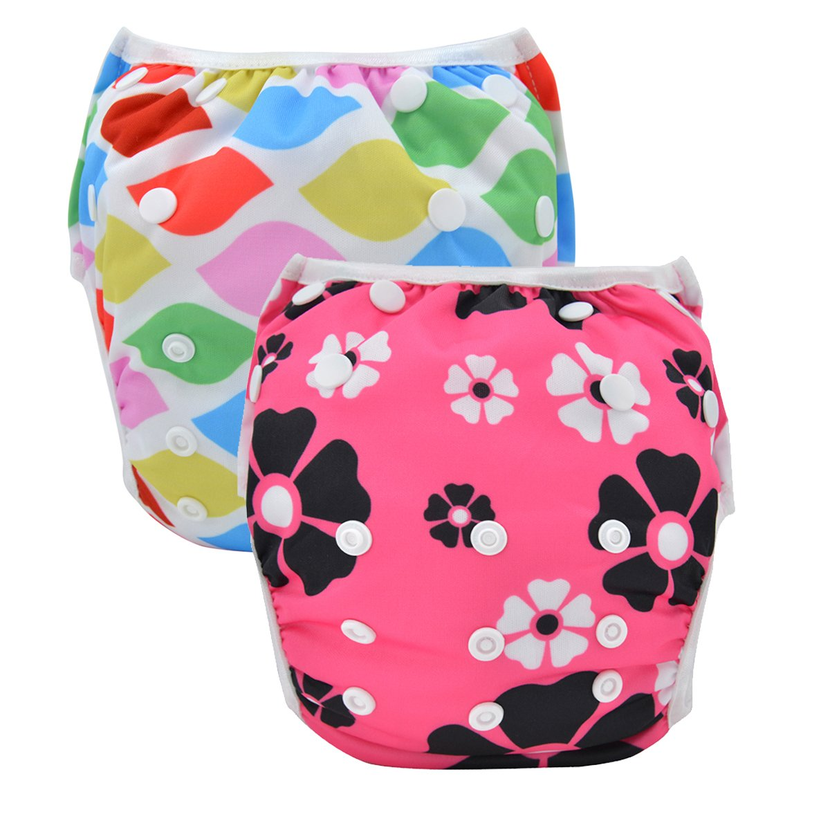 Babygoal 2 Pack Reusable Swim Diapers for Girls, Washable and Adjustable for Swimming & Baby Shower Gift Fit Babies 0-2 Years(Ship from CA,US) Huapin