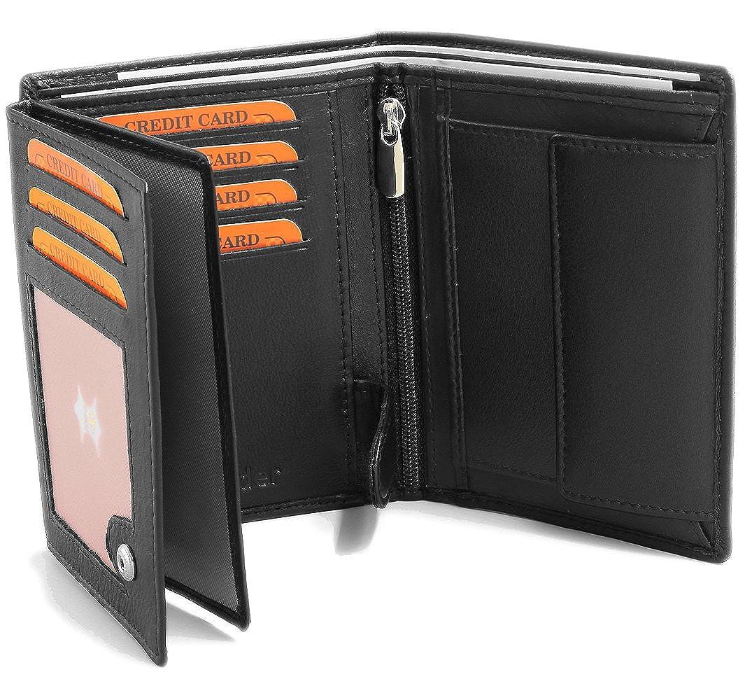 Portefeuille Pour Homme En Real Cuir 12, 5 x 9, 5 x 2 cm Blocage RFID Noir #Ph3
