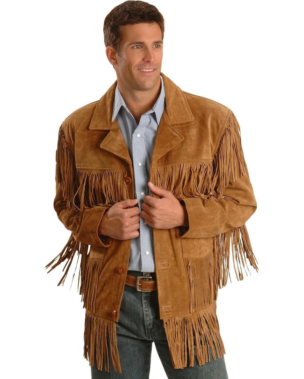 Liberty Wear Men's Fringe Suede Leather Jacket Tobacco Large