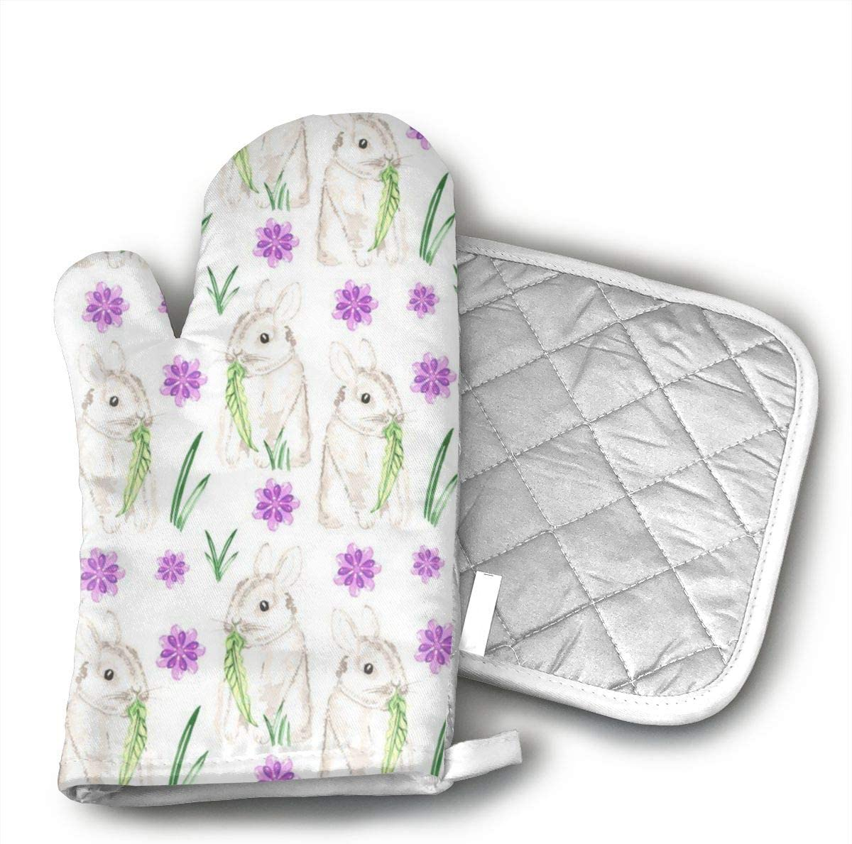 JFNNRUOP Watercolor Baby Bunny Oven Mitts,with Potholders Oven Gloves,Insulated Quilted Cotton Potholders