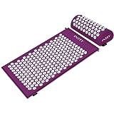 INTEY Kit d'Acupression Tapis Coussin de Massage pour Yoga Traitement des Douleurs Tensions Violet/Vert 64×40×2.5cm