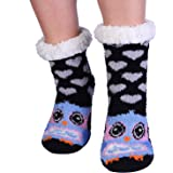 Cute Animal Cozy Fuzzy Slipper Socks With Grippers for Women Gifts