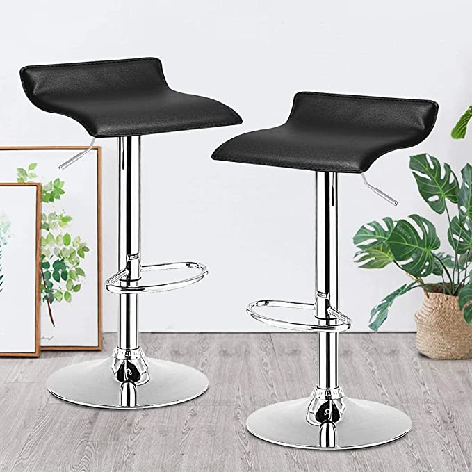 Amazon Com Bar Stool Gentleshower Set Of 2 Pu Leather Backless Swivel Bar Chair Adjustable Height Barstools With Footrest For Kitchen Home Bars Pubs Etc Black Furniture Decor