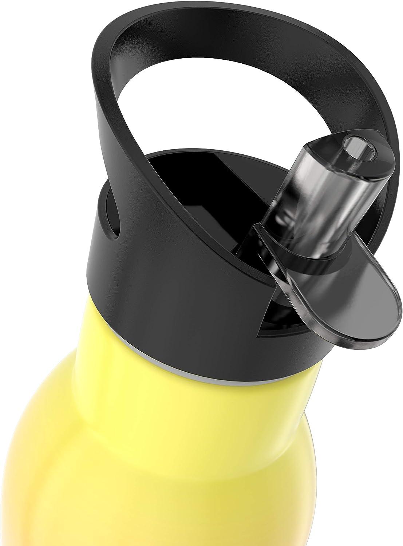acier inoxydable//double paroi filtre alcalinisant//couvercle de sport suppl/émentaire inclus 400 orange Bouteille filtrante isotherme pH ACTIVE mod/èle 2019