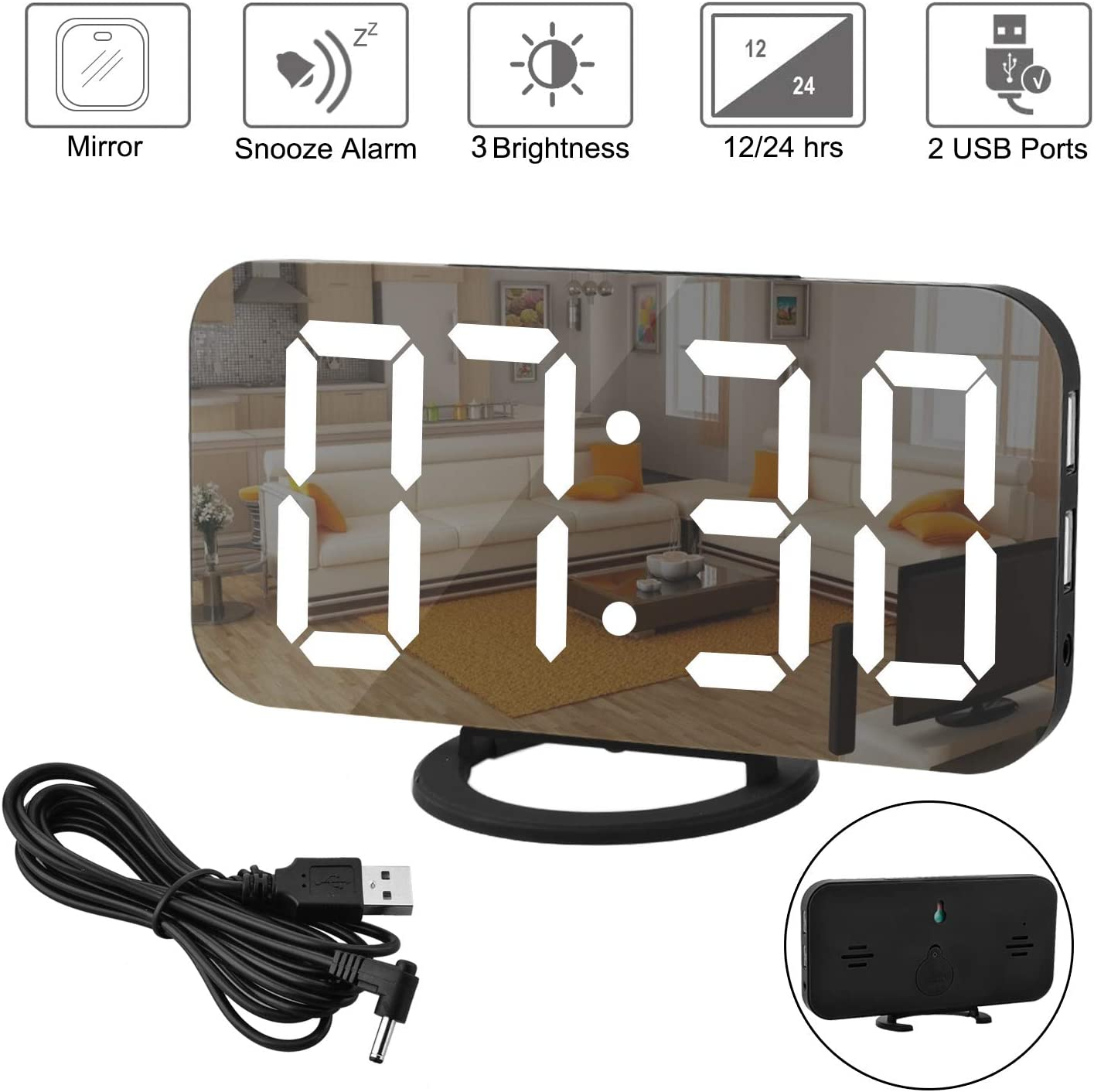 Digital Clock Large Display, LED Alarm Electric Clock Mirror Surface for Makeup with Diming Mode, 3 Levels Brightness, Dual USB Ports Modern Decoration for Home Bedroom Decor-Black