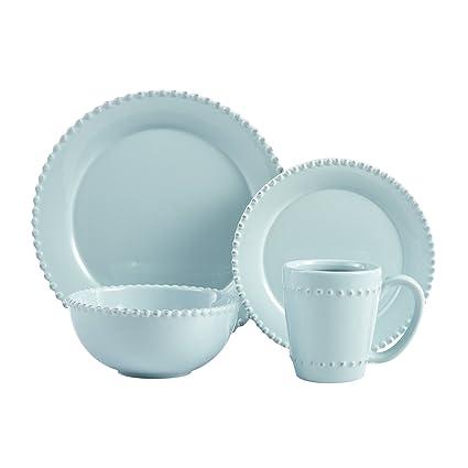 American Atelier Bianca Bead 16-Piece Dinnerware Set Azul  sc 1 st  Amazon.com & Amazon.com | American Atelier Bianca Bead 16-Piece Dinnerware Set ...