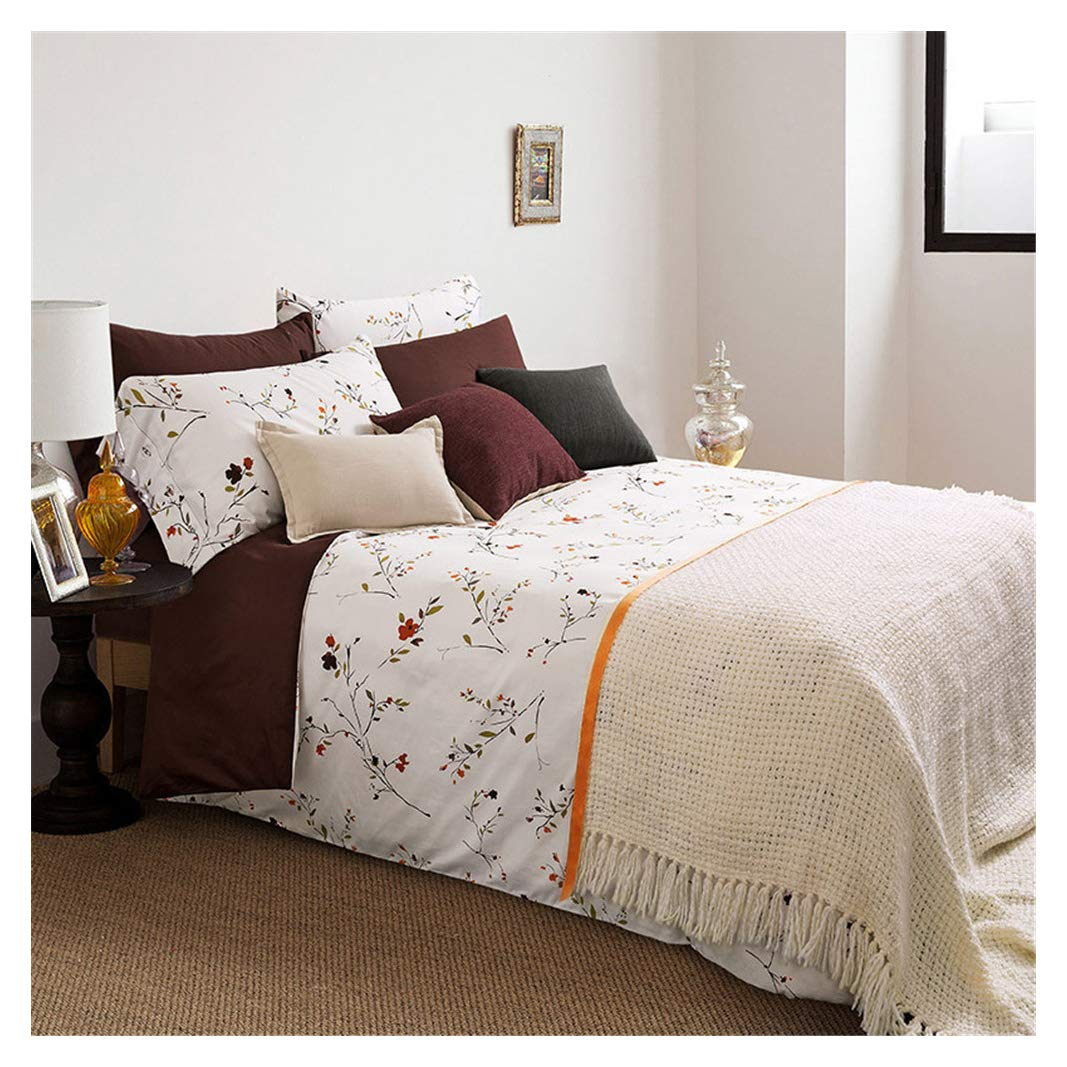 Tree King Floral Duvet Cover Sets Queen Girls Botanical Bedding Set White Flowers Branches Microfiber for Woman Travel Trailer Room Teen Boys